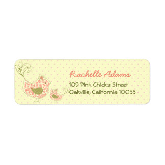 fatfatin Pink Swirly Mom & Baby Bird Labels