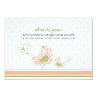 fatfatin Pink Swirly Mom & Baby Bird Thank You Card