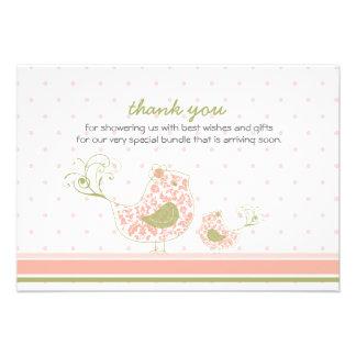 fatfatin Pink Swirly Mom & Baby Bird Thank You Custom Invites