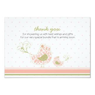 "fatfatin Pink Swirly Mom & Baby Bird Thank You 3.5"" X 5"" Invitation Card"
