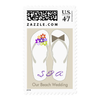 fatfatin Purple Beach Flip Flops Wedding Stamps