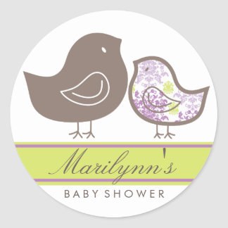 fatfatin Purple Damask Chicks Baby Shower Sticker