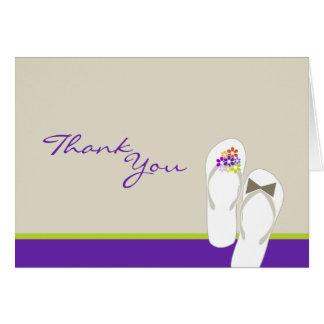 fatfatin Purple Flip Flops Wedding Thank You Card