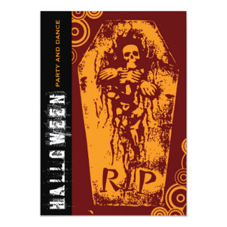 fatfatin R.I.P Skeleton Coffin Halloween Party Inv 5x7 Paper Invitation Card