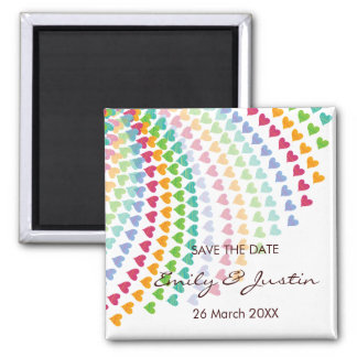 fatfatin Rainbow Heart Sprinkles Save The Date Magnets