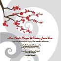 cherry blossom wedding invitation cards