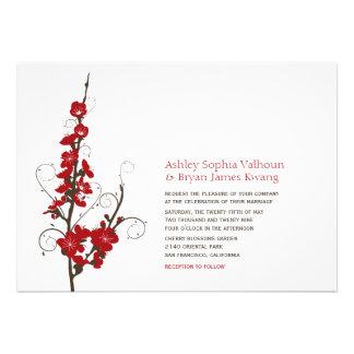 fatfatin Red Cherry Blossoms Wedding Invitation Personalized Invitation