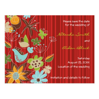 fatfatin Red Floral Garden Save The Date Postcard