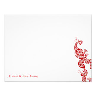 fatfatin Red Floral Peacock Wedding Thank You Card Personalized Invite