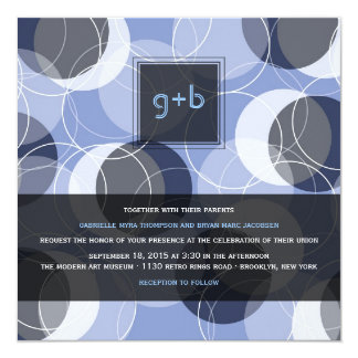 """fatfatin Retro Mod Rings Blue Wedding Invite 5.25"""" Square Invitation Card"""