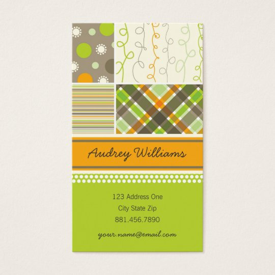 fatfatin Retro Orange Brown Combo Pattern Business Card