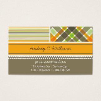 fatfatin Retro Orange Brown Combo Pattern Business Card