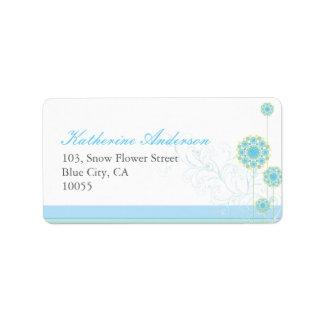 fatfatin Snow Flower Swirls Blue Address Label Address Label