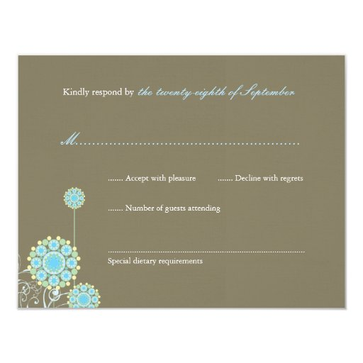 fatfatin Snow Flower Swirls Blue RSVP Card