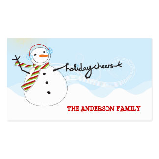 fatfatin Snowman Cheers Holiday Gift Tag Business Card