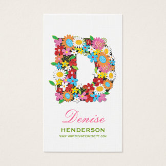 "fatfatin Spring Flowers ""D"" Monogram Profile Card"