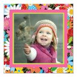 "fatfatin Spring Flowers Garden Birthday Invite 5.25"" Square Invitation Card"