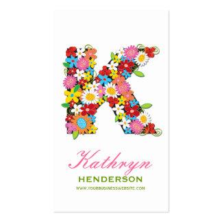"fatfatin Spring Flowers ""K"" Monogram Profile Card Business Cards"