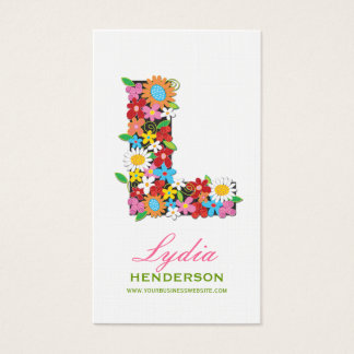 "fatfatin Spring Flowers ""L"" Monogram Profile Card"