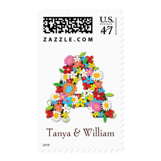 fatfatin Spring Flowers Monogram Wedding Stamps