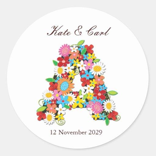 fatfatin Spring Flowers Monogram Wedding Sticker