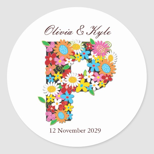 fatfatin Spring Flowers Monogram Wedding Sticker