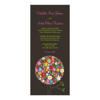 fatfatin Spring Flowers Pop Tree Wedding Invite Announcement
