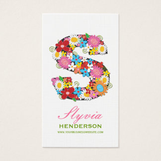 "fatfatin Spring Flowers ""S"" Monogram Profile Card"