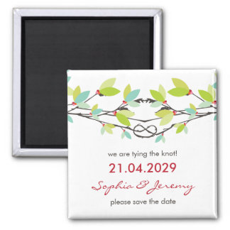 fatfatin Spring Knotted Love Trees Save The Date 2 Inch Square Magnet