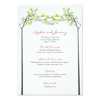 fatfatin Spring Knotted Love Trees Wedding Menu Card