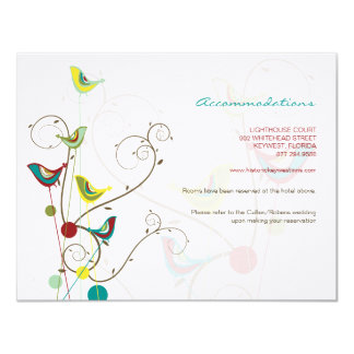 fatfatin Summer Bird And Swirls Enclosure Card Personalized Invitations
