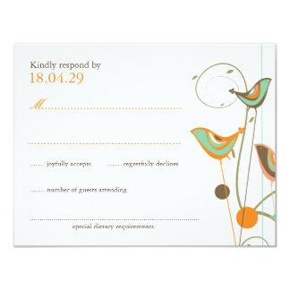 fatfatin Summer Birds And Swirls 2 Wedding RSVP 4.25x5.5 Paper Invitation Card