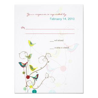 fatfatin Summer Birds And Swirls RSVP Card Custom Invitations