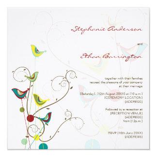 fatfatin Summer Birds And Swirls Wedding Invite
