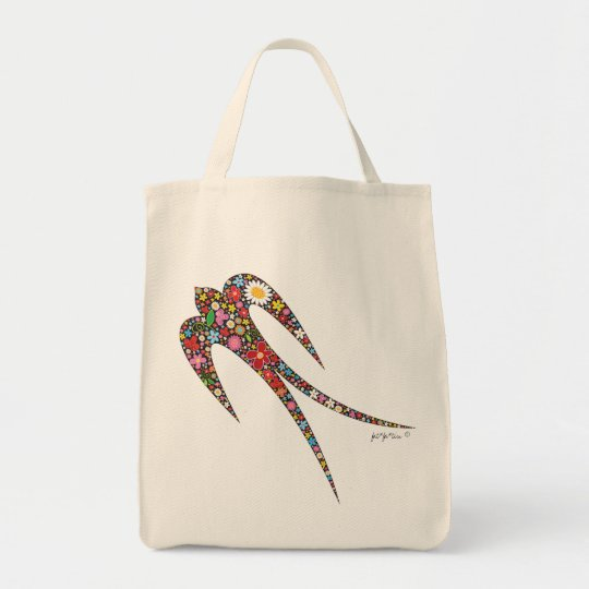 fatfatin Swallow Spring Flowers Tote Bag