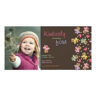 fatfatin Sweet Cherry Cupcakes Birthday Invite Custom Photo Card