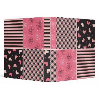 fatfatin Sweet Hearts Pink Black Pattern Binder binder