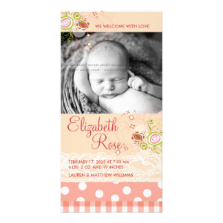 fatfatin Sweet Pink Blooms Baby Announcement Photo Card