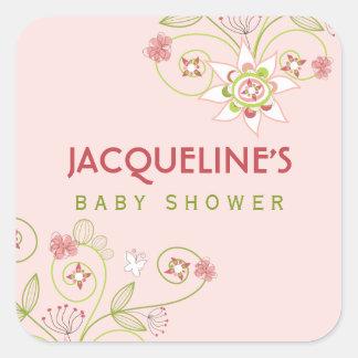 fatfatin Sweet Pink Blooms Baby Shower Sticker
