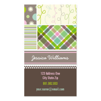 fatfatin Sweet Pink Combo Pattern Profile Card Double-Sided Standard Business Cards (Pack Of 100)