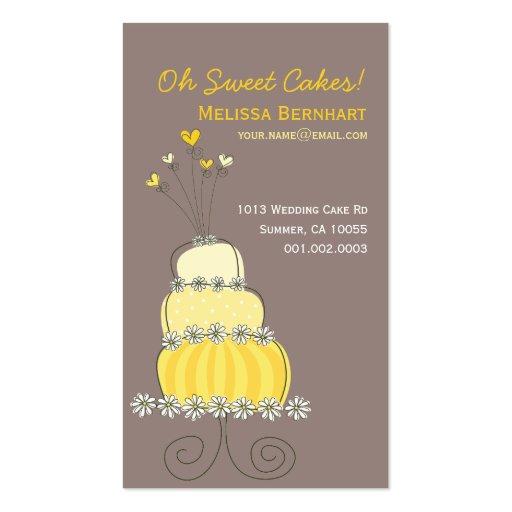 fatfatin Sweet Yellow Wedding Cake Profile Card Business Card Template