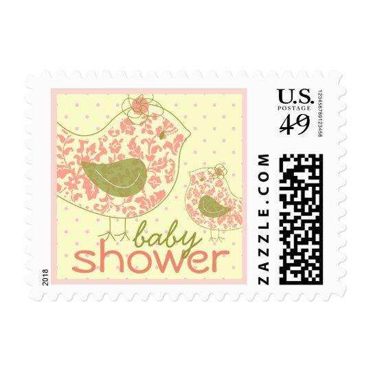 fatfatin Swirly Mom & Baby Bird Baby Shower Stamps