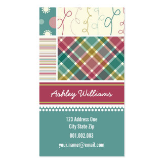 fatfatin Teal Combo Pattern Profile Card Double-Sided Standard Business Cards (Pack Of 100)