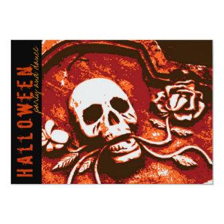 fatfatin Tombstone Skull Rose Halloween Party Invi Card