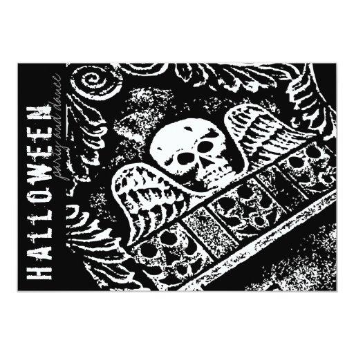 fatfatin Tombstone Skull Wings Halloween Party Inv Custom Invite