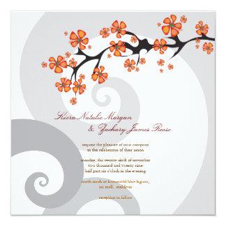 fatfatin Tropical Flower Fusion Swirls Wedding 5.25x5.25 Square Paper Invitation Card