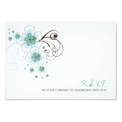fatfatin Tropical Hibiscus Blue Wedding RSVP Card