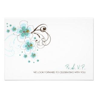 fatfatin Tropical Hibiscus Blue Wedding RSVP Card Custom Invite