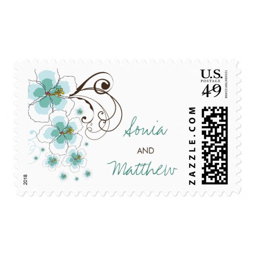 fatfatin Tropical Hibiscus Blue Wedding Stamps