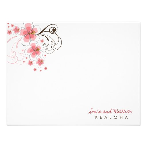 fatfatin Tropical Hibiscus Pink (R) Thank You Card Invite